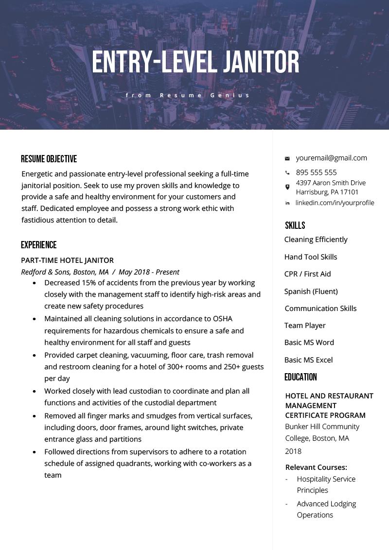 EntryLevel Janitor Resume Sample Resume Genius