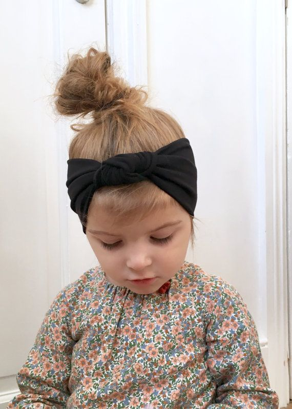 Baby black jersey head wrap   girls knot headband   plain  93345d32bfb