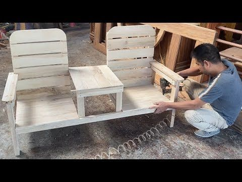 How To Building A Outdoor Double Chair With Table - Design Skills Woodworking Project - YouTube #woodworkingprojectschair