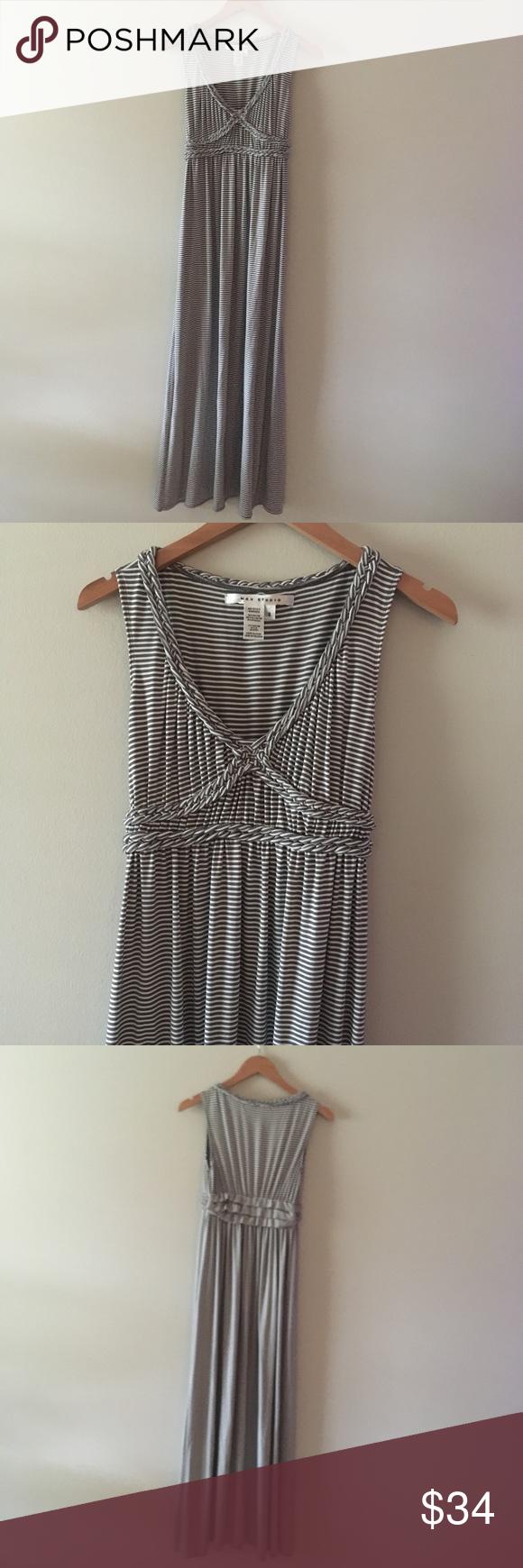 1e936abdc7a Max Studio Grey Striped Maxi Dress Pretty grey   white striped jersey  cotton maxi dress.