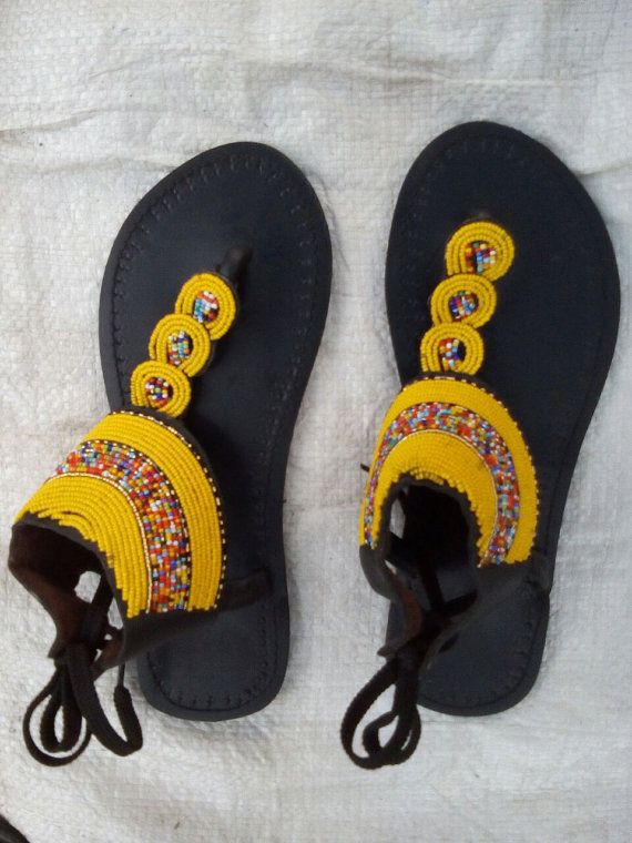 68c5b7201028e Handmade Leather And Bead Sandals by Delviinternational on Etsy ...