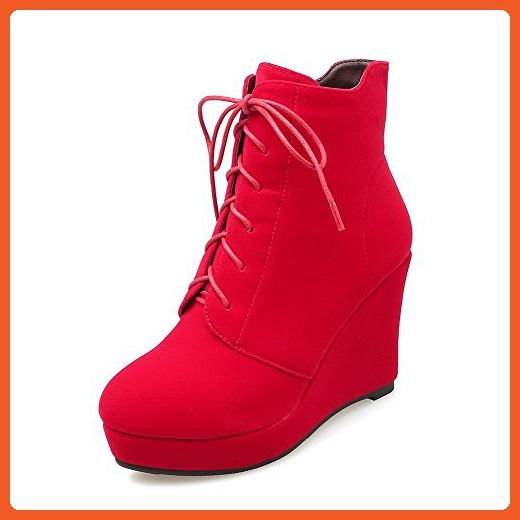 Women's High-Heels Round Closed Toe Imitated Suede Low-Top Solid Zipper Boots Red-Frosted 34