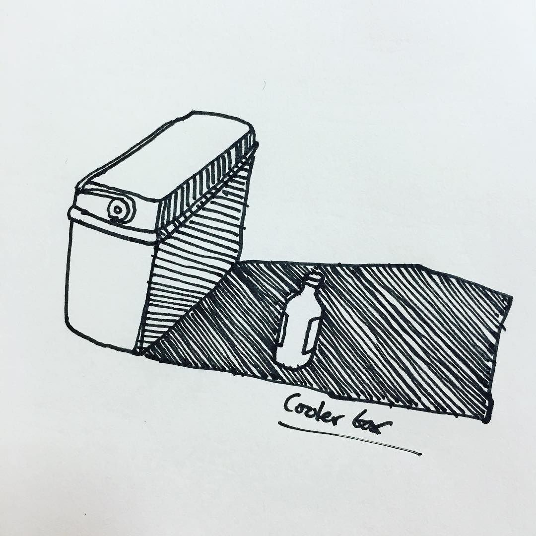 Cooler Box Sun And Tequila Inktober Drawing Draw Shadow