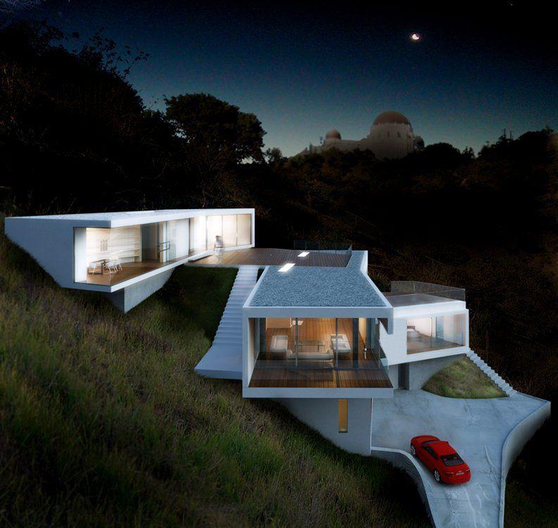 Modern hollywood hills architecture losangeles hillside for Hillside architecture
