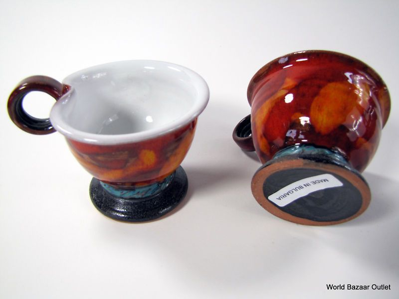 2 Unique Pottery Ceramic Coffee Cups Charcoal Red | eBay