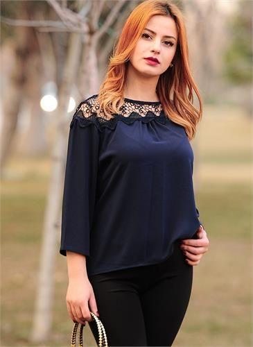 Bayan Bluz Dantel Yaka Lacivert