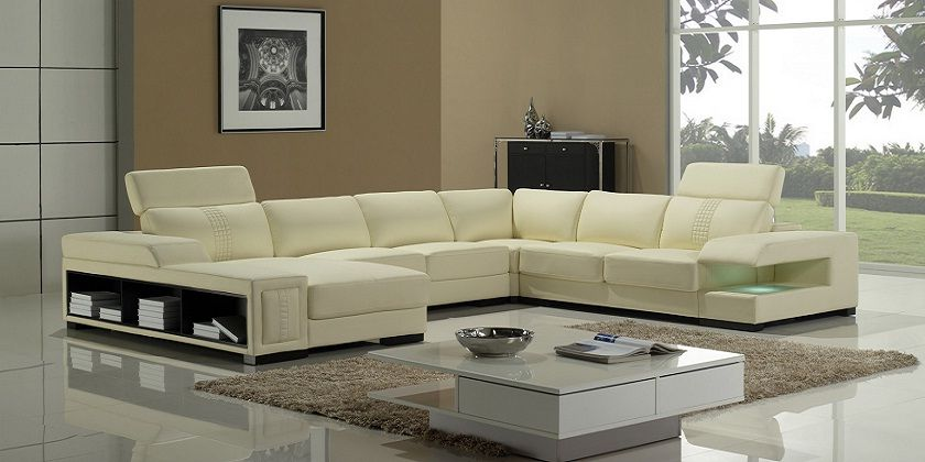 Cream Leather Corner Sofa Set