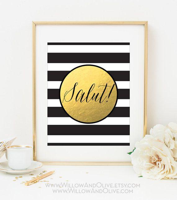SALUT Faux Gold Foil Art Print - Black & White Stripe - Bar Cart Art ...