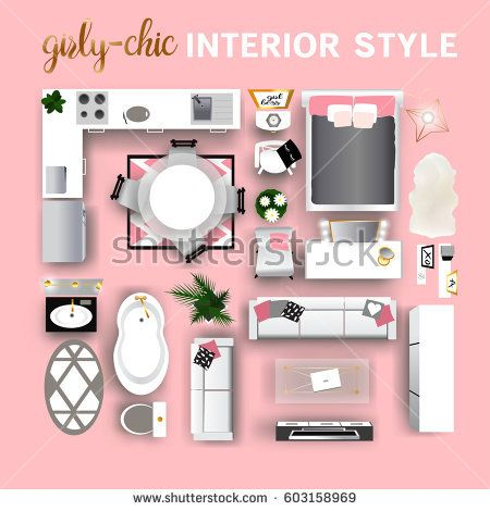 Interior top view for Young Women or teen girl. Modern realistic ...