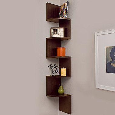 Buy Walnut Grain Finish 5 Level Zigzag Corner Wall Mount Shelf From Bed Bath Beyond Corner Wall Shelves Decorating Shelves Wall Mounted Corner Shelves