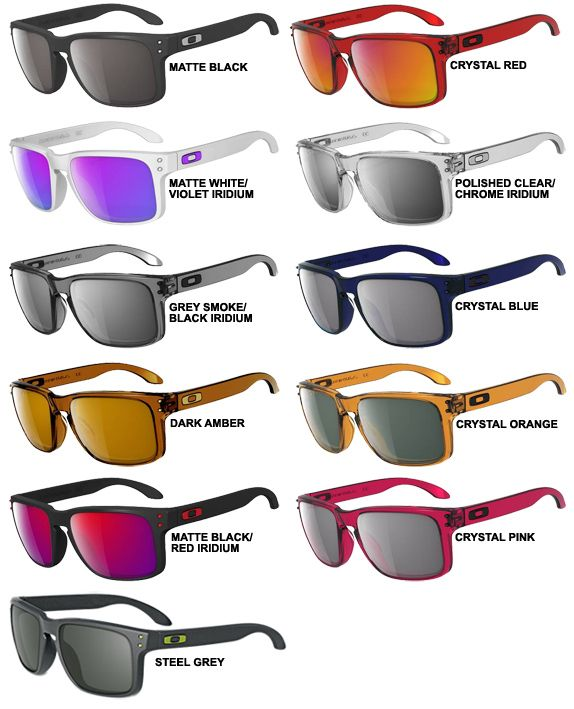 oakley glass color  oakley holbrook sunglasses either gray smoke or polished clear frames with violet iridium or red iridium lens. black iridium would work with the \u2026