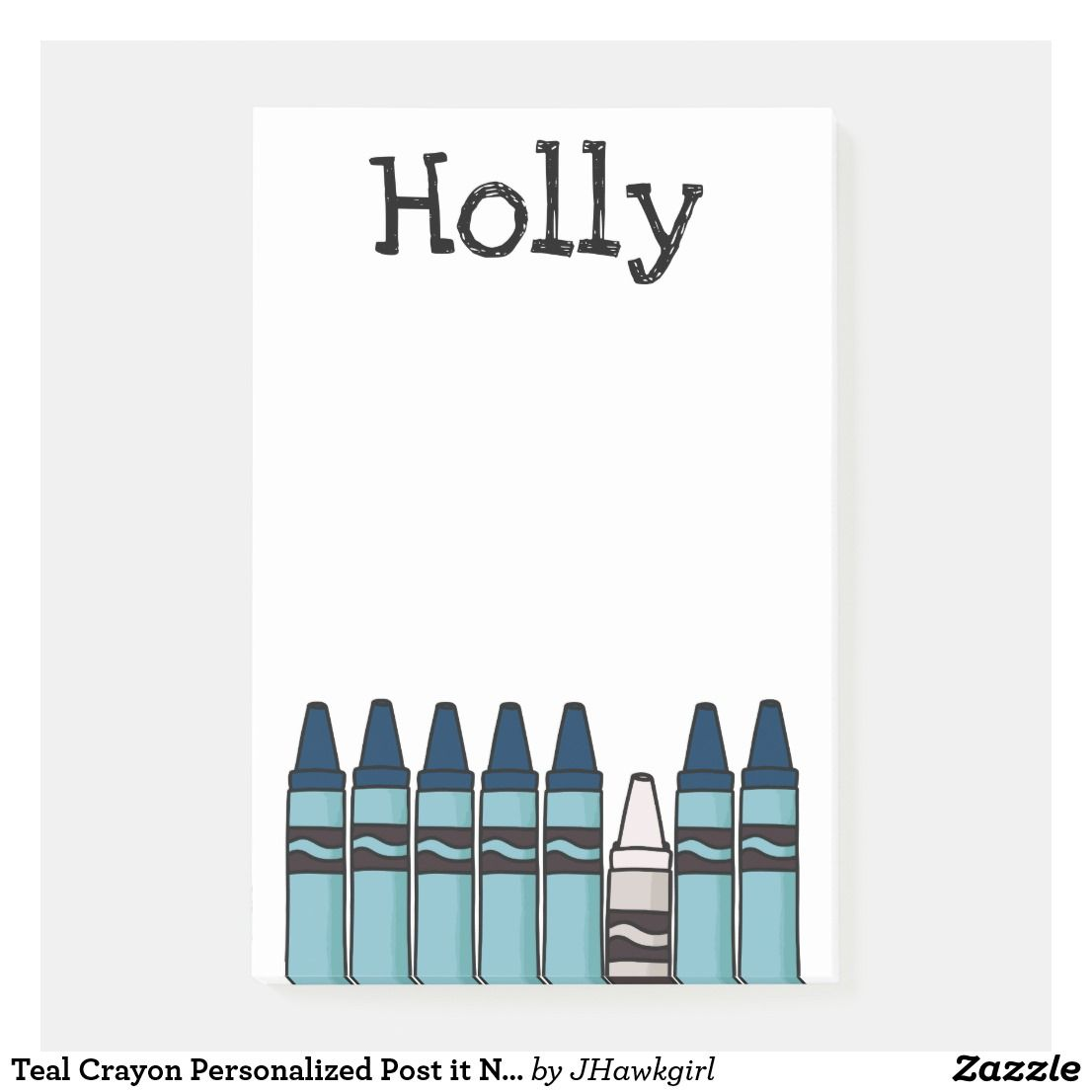 Teal Crayon Personalized Post It Notes Zazzle Com