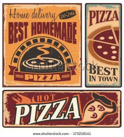 Pizza vintage. Retro metal signs set