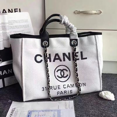8e4c67f8b55b28 Chanel Canvas Large Deauville Shopping Bag A68046 | Chanel Bags and ...
