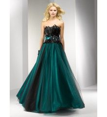 A-line Strapless Tulle Feather Jewels Zipper Back Long Prom Dress