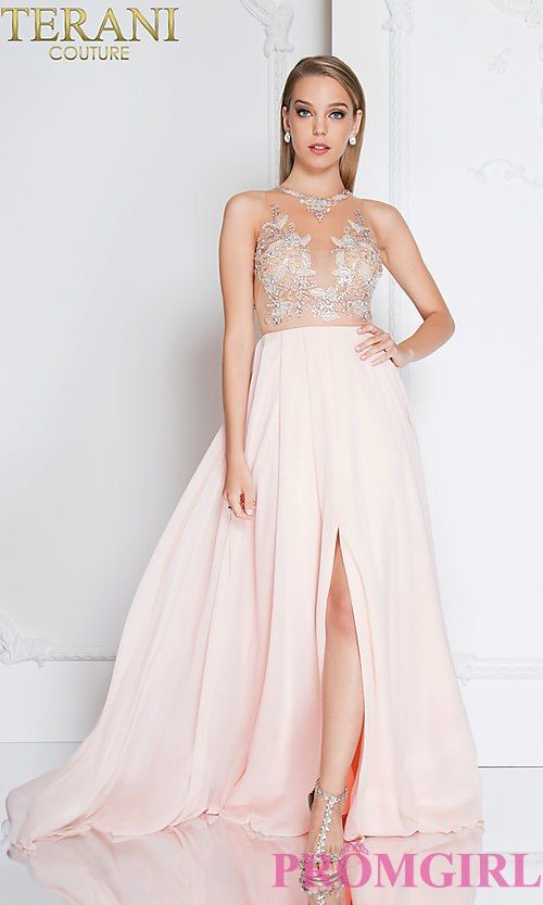 Long Illusion-Neck Terani Prom Dress with Beading | WANHAT2019 ...