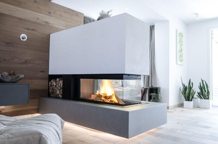 Moderner Heizkamin, Raumteiler, M-Design, 3 Seiten Glas