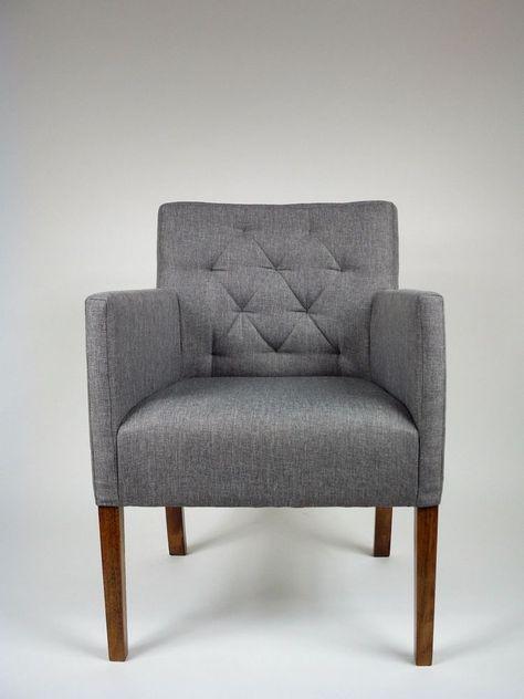 Armlehnstuhl BRUNO Polster Stuhl Sessel Grau Esszimmerstuhl in Möbel