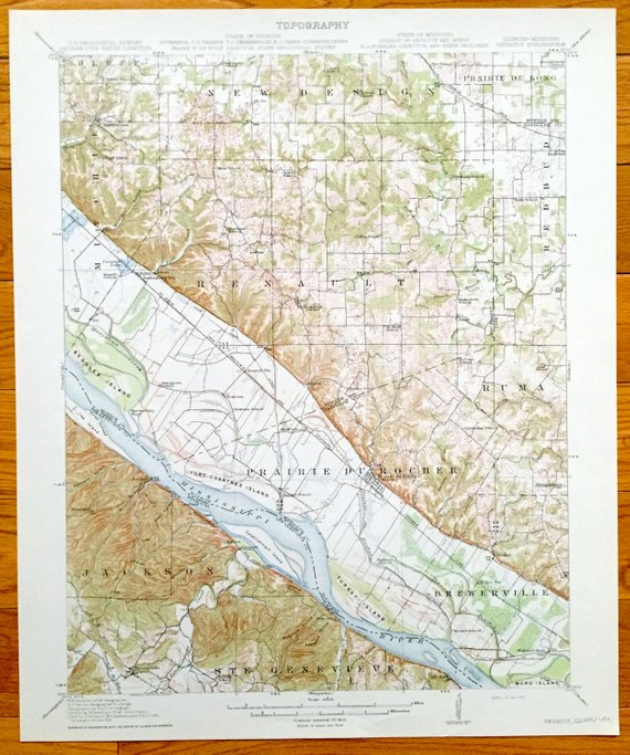 Antique Renault Illinois 1913 Us Geological Survey Topographic Map