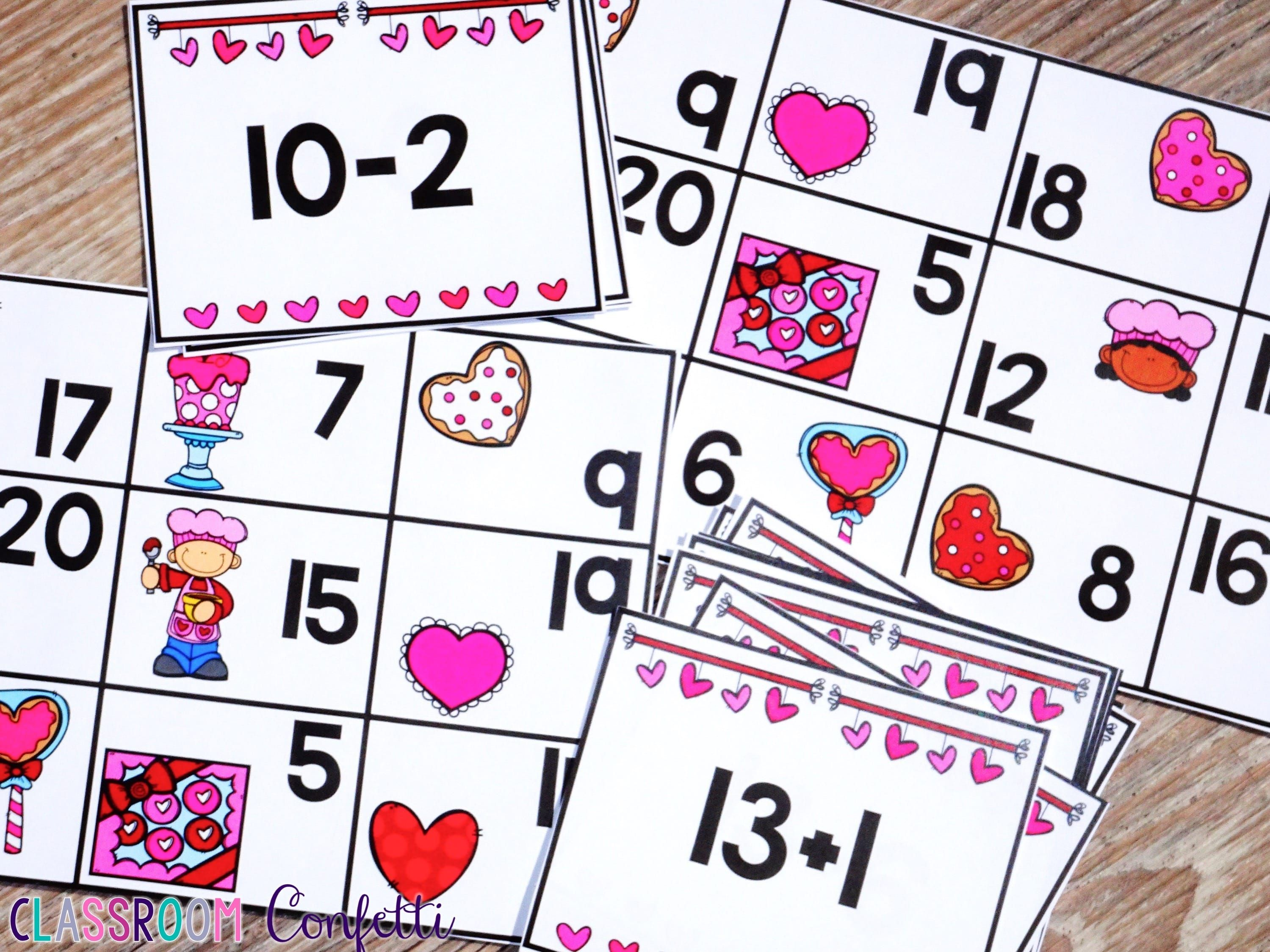 Addition And Subtraction Bingo Within 20 Valentine S Day Theme