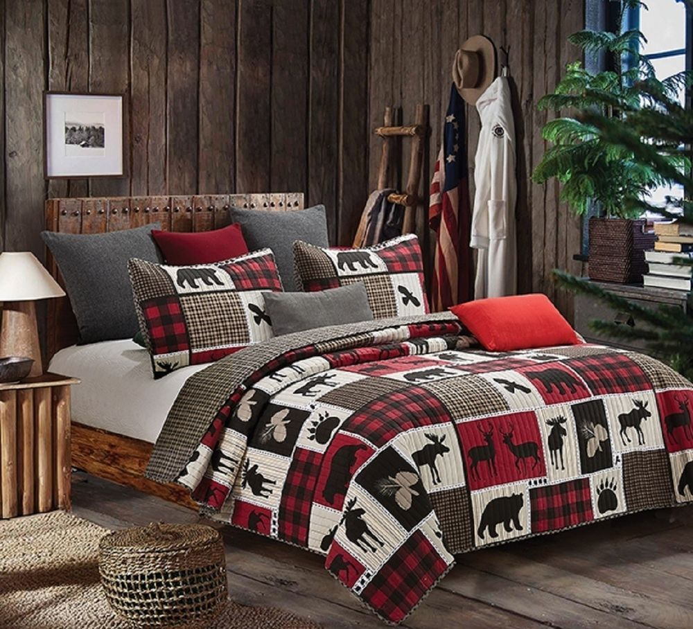 LODGE LIFE 3pc King QUILT SET BLACK BEAR PAW MOOSE LOG CABIN BUFFALO THROW