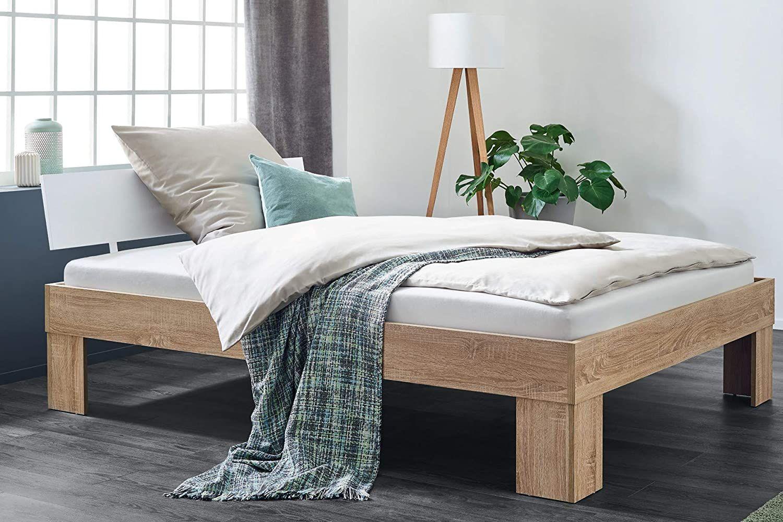 BMG Möbel ALDI Bett Holz Holzbett Doppelbett 140x200 cm