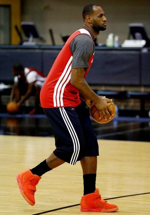 61dfadd30 Celeb Sneaker Game  Lebron James Hooping in Nike Air Yeezy Red October.