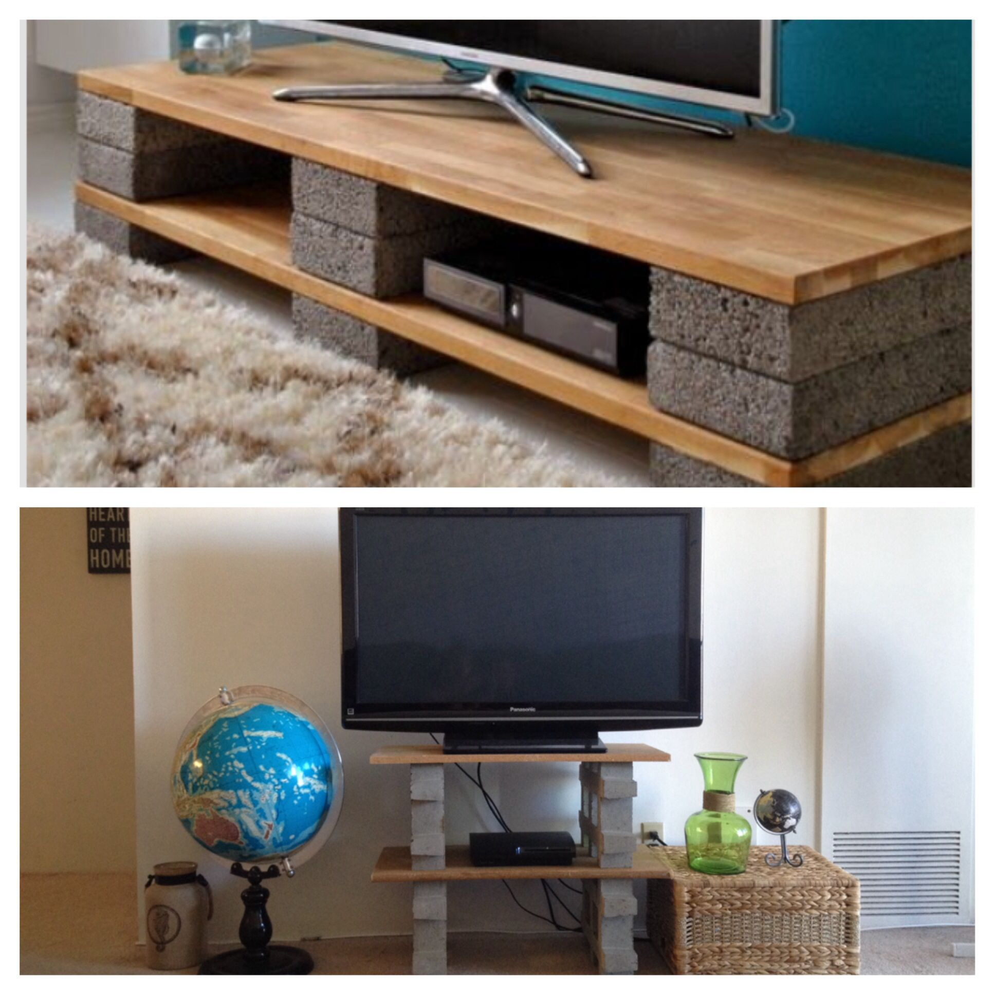 Pinterest inspired tv stand Blocks $4 15 each at Home Depot