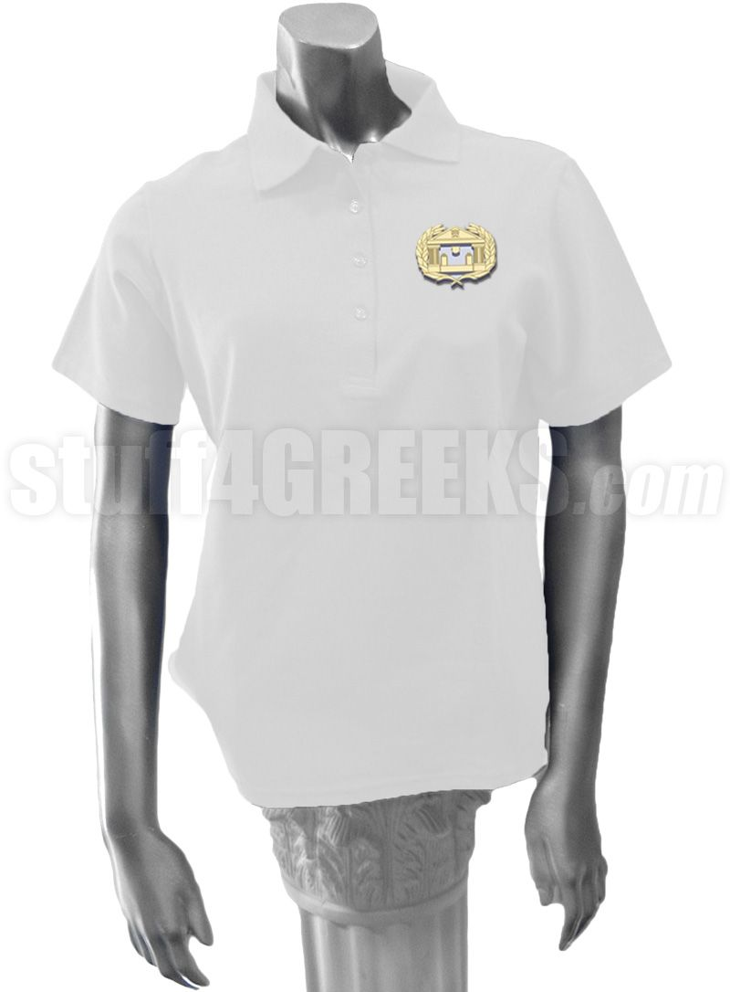 99621e1221656 White Alpha Psi Omega ladies' polo shirt with the crest on the left ...