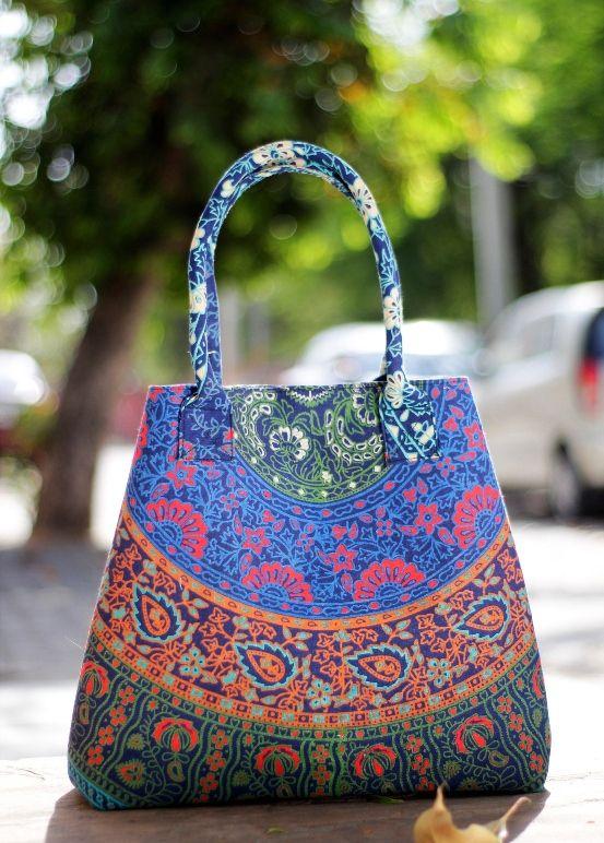 Women Shoulder Shopping Hippie Beach Bags Indian Ombre Mandala Handmade White Blue Mandala Handbags Ladies Purse Carry Bag /& Tote Bags