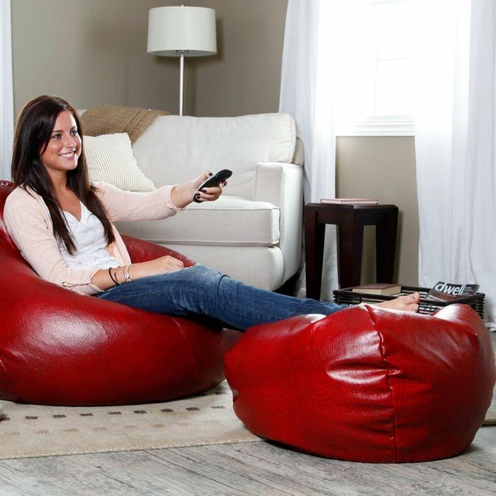 moderne möbel wohnzimmer einrichten rote sitzpuffs Möbel - möbel wohnzimmer modern