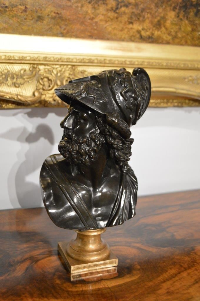 A beautifully patinated 19th Century French bronze bust of Ajax.