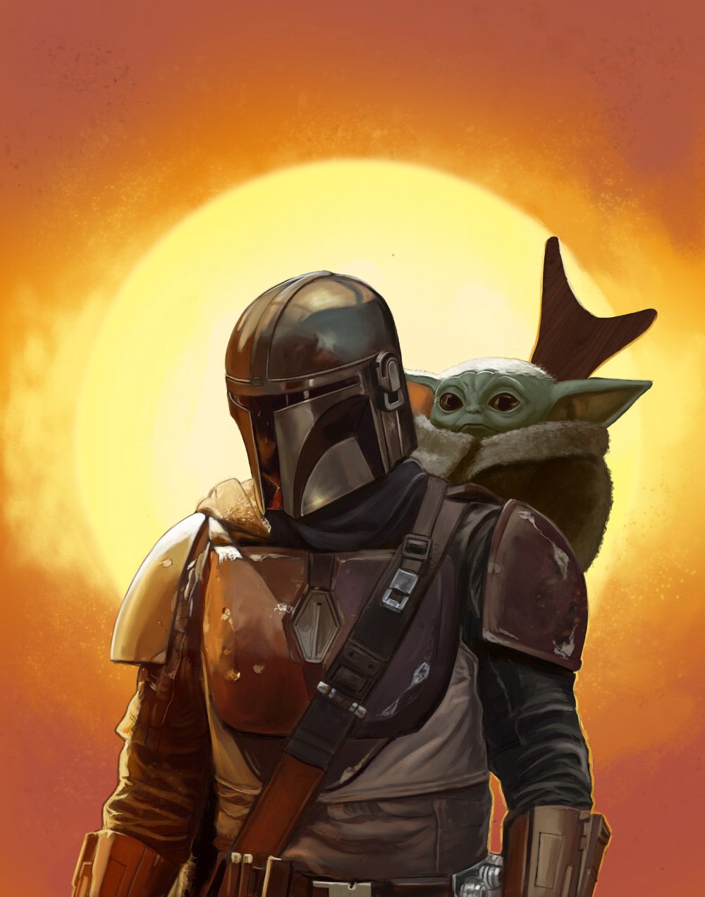 Baby Yoda and Mandalorian FanArt (2020) Star wars