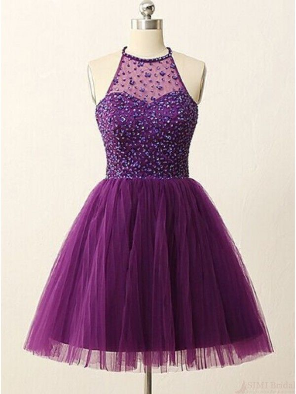 Halter Knee-Length Strapless Purple Homecoming Dress with ...