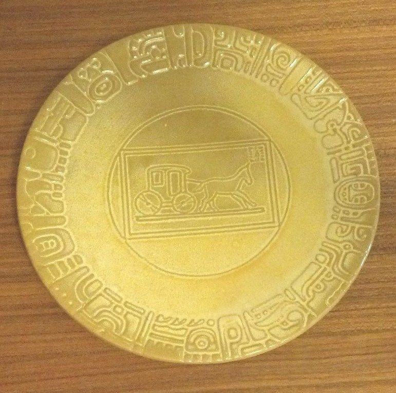 Frankoma MayanAztec commemorative plate in Desert Gold