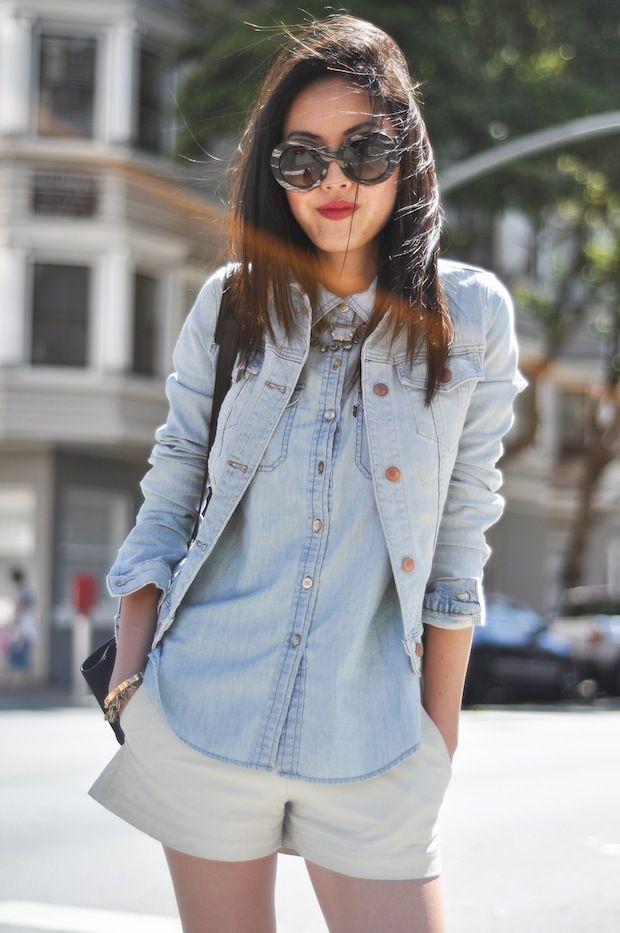 inusitado mas muito legal: camisa jeans por baixo de jaquetinha jeans