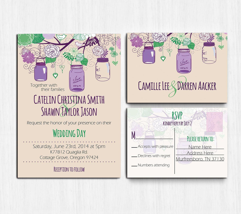 DIGITAL Purple Green Wedding Invitation Mason jars by MinimalMoon ...