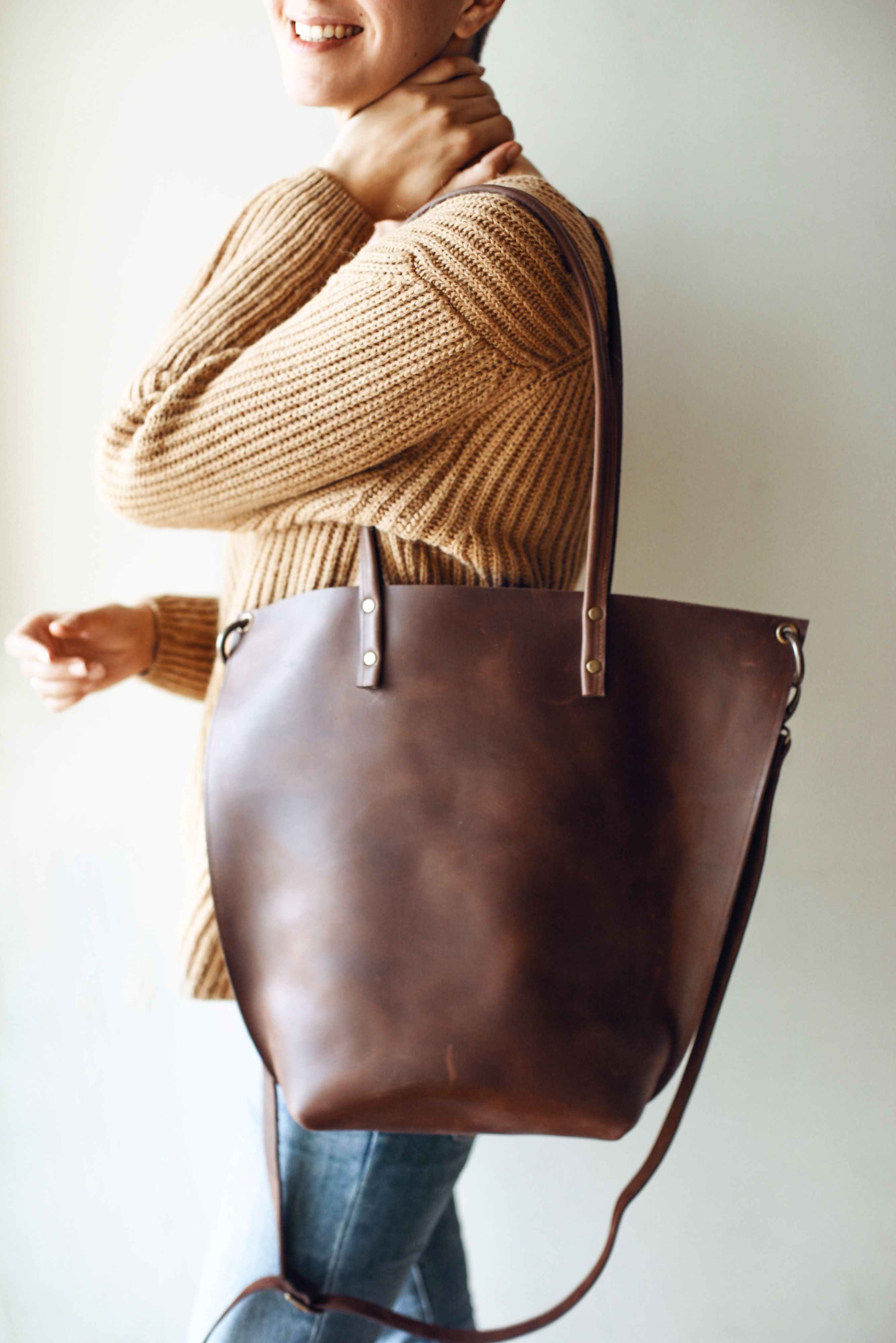 Handmade Tote From Highest Quality Natural Leather Brown Handbag Vintage Bag Shoulder