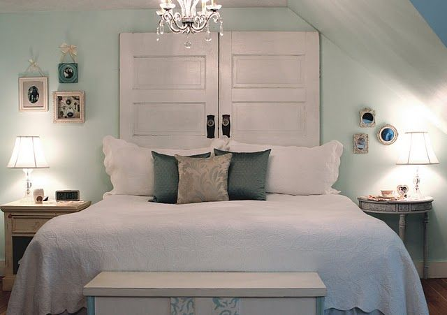 I love this! The doors are a great headboard and the colors are so nice!