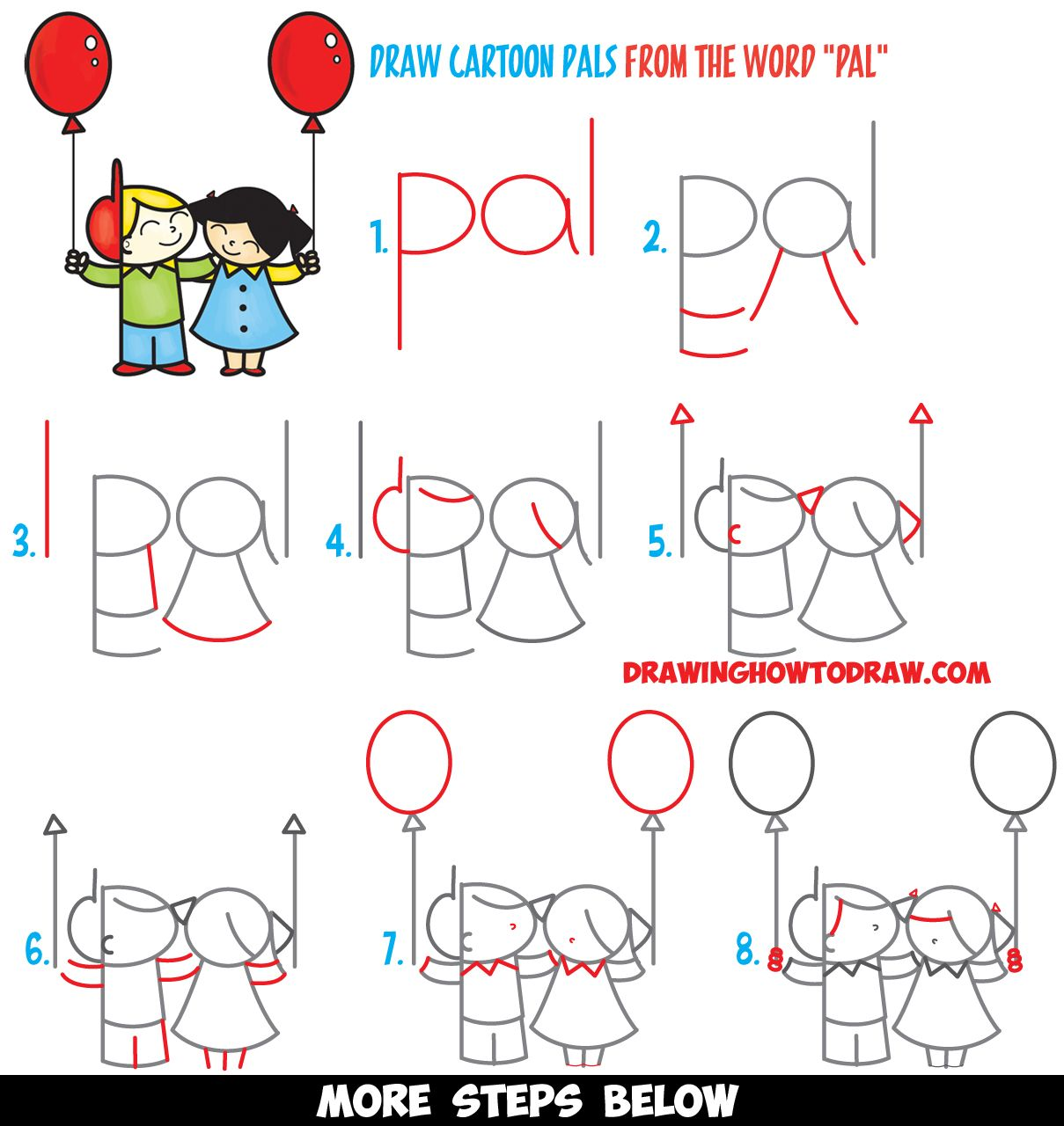 how to draw 2 cartoon friends or pals from the word pal word toon