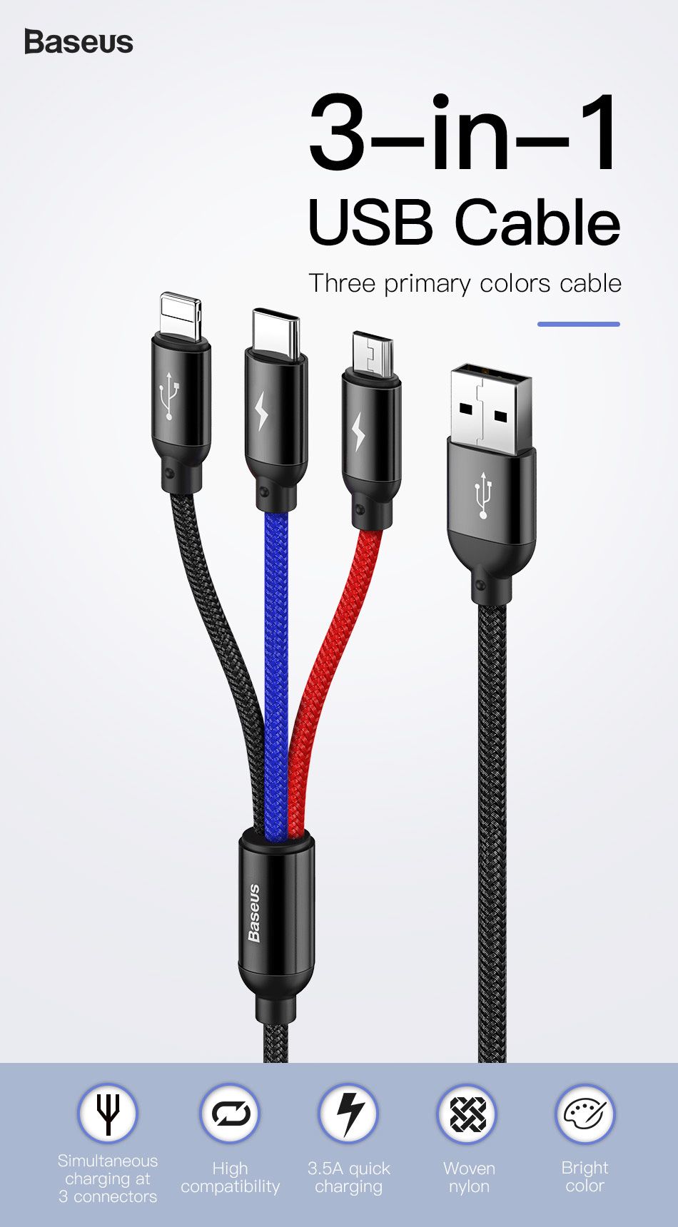 3 In 1 Usb Cable For Mobile Phone Micro Usb Type C Charger Cable For Iphone Charging Cable Micro Usb Charger Cord Negamy Usb Cable Charging Cable Micro Usb