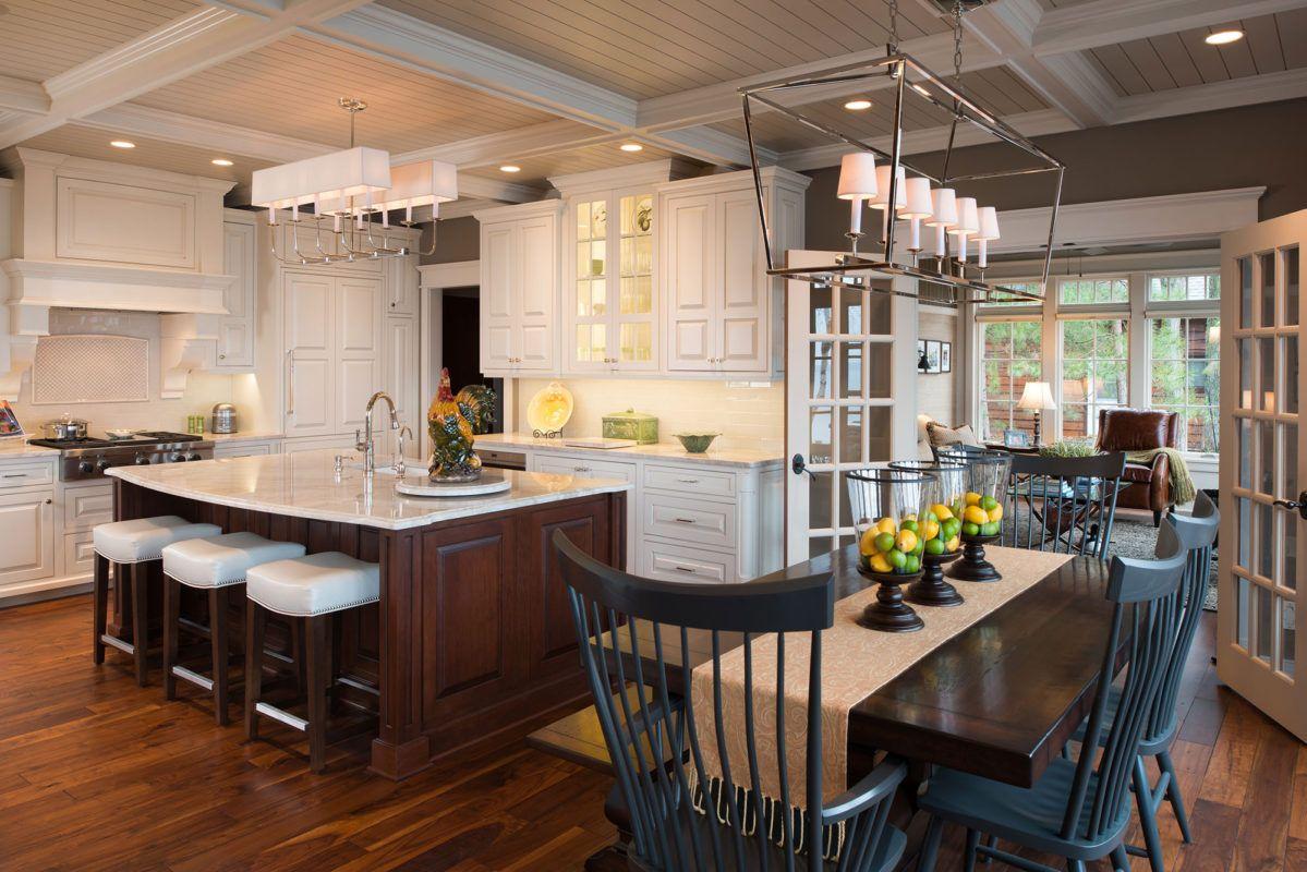 Traditional White Kitchen with Dark Cherry Island