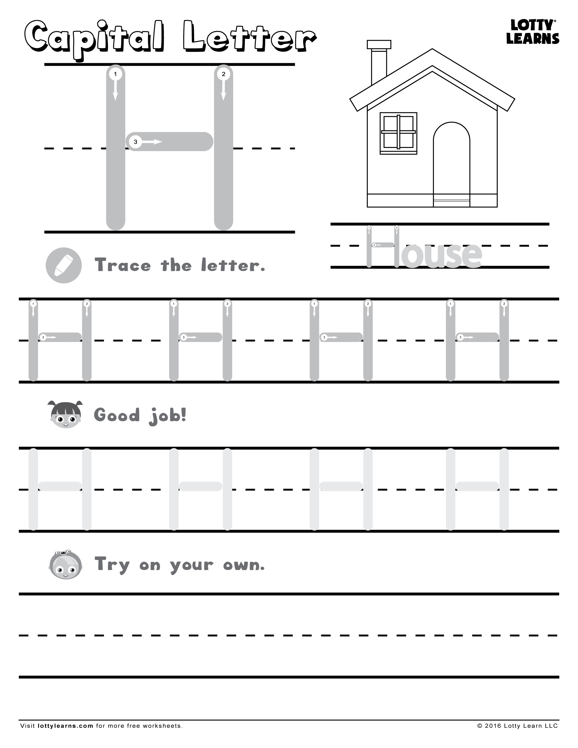Letter H Cutting Worksheet