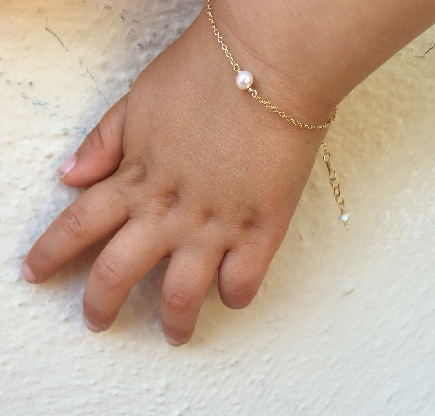 Gold and pearl baby braceletbaby shower gift baby girl gift