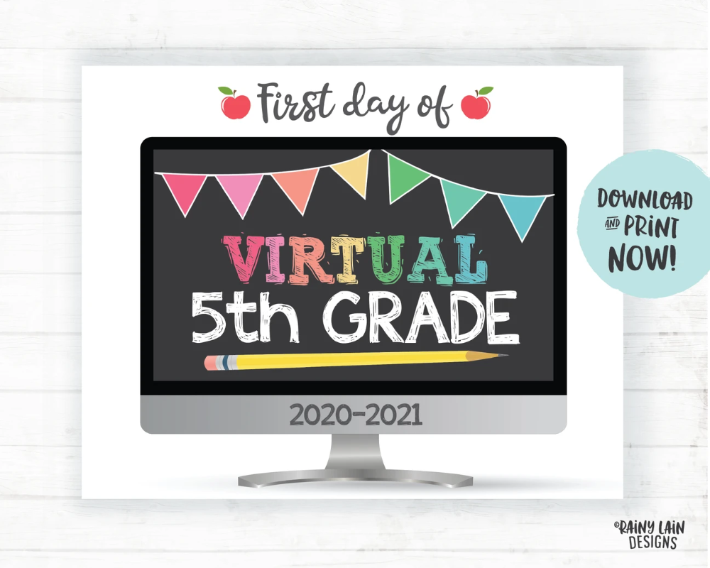 Photo of First Day of Virtual 5th Grade Sign, First Day of Distance Learning Sign, E-Learning Sign, Online School, Virtual School Sign, Home School
