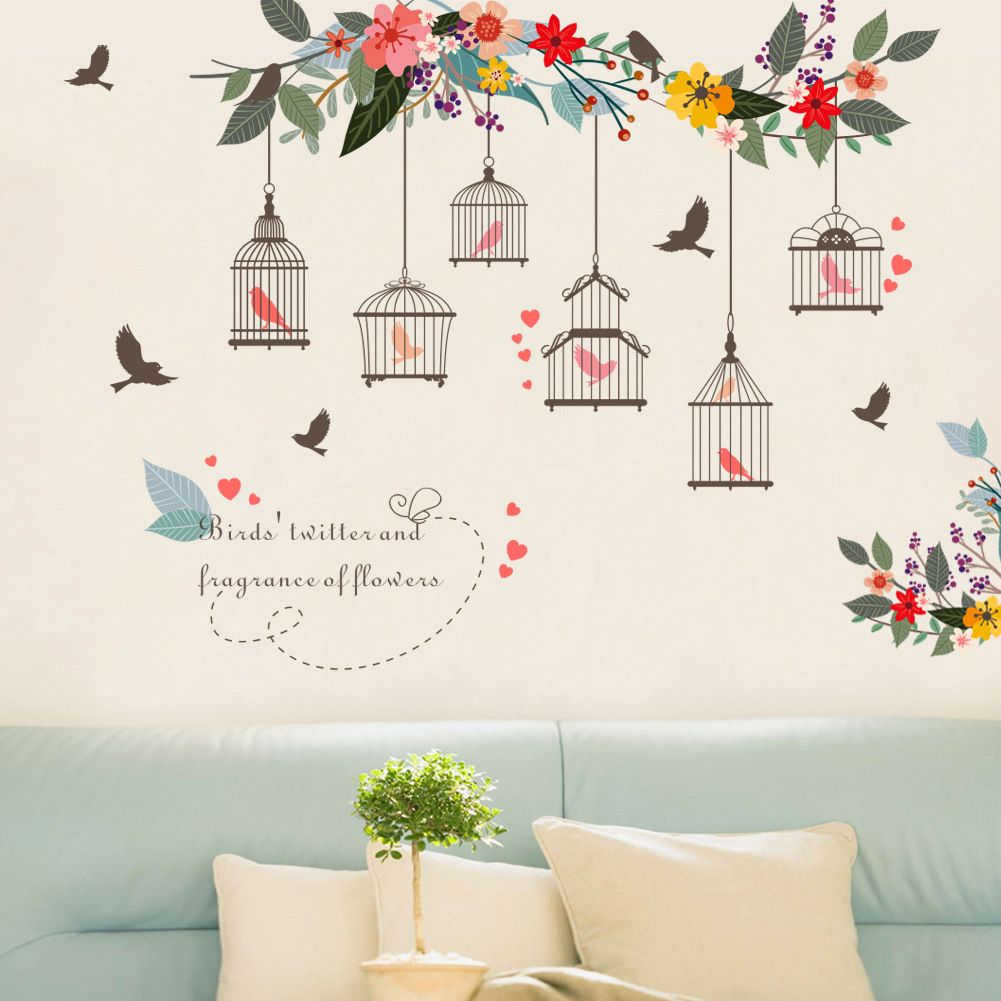 Removable Flower Bird Birdcage Wall Art Sticker Decal Living Room Home Diy Decor Sticker Wall Art Wall Stickers Home Decor Removable Wall Art