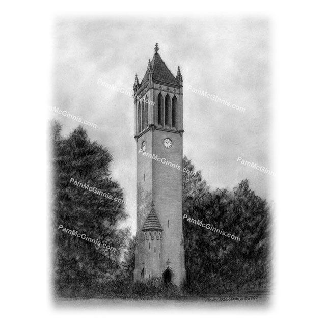 Matted Campanile Print. Iowa State University