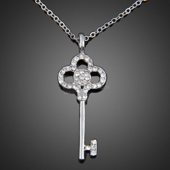 Fashion Exquisite Women Silver Plated Rhinestone Key Pendant Chain Necklace, unit price of $3.14 only - Yesfor.com