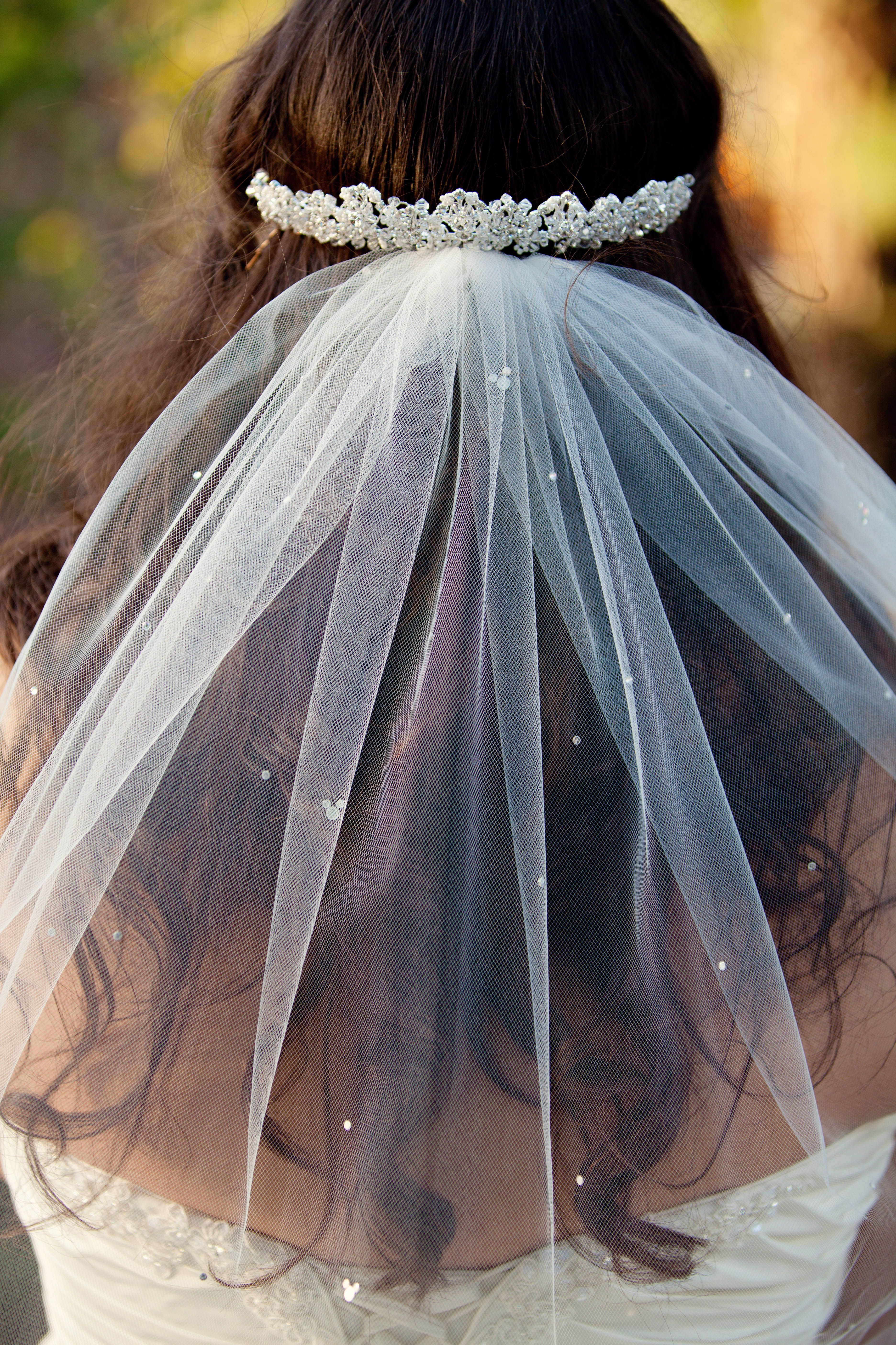 Beautiful Veil With Mickey Crystal Accents And A Rhinestone Headband Bridal Accessory: Mickey Mouse Wedding Dress At Reisefeber.org