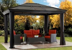 12 X 16 Dark Brown Hard Top Gazebo Sun Shelter With Mosquito Nets 12x16 Gazebo Backyard Pergola Hardtop Gazebo
